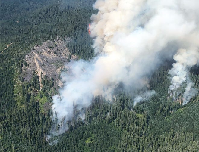 Smoke rises over the Bruler Fire. The wildfire is currently burning south of Detroit Lake.