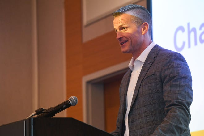 Mayor Paul TenHaken speaks at a joint meeting of the City of Sioux Falls and the university on Monday, July 13, at the Hilton Garden Inn in Sioux Falls.