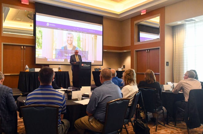 South Dakota State University President Barry Dunn speaks at a joint meeting of the City of Sioux Falls and the university on Monday, July 13, at the Hilton Garden Inn in Sioux Falls.