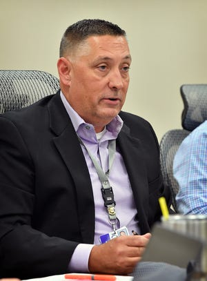 Wichita Falls ISD superintendent Michael Kuhrt addresses the Board of Trustees during a special session Tuesday.