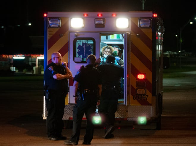 Wichita Falls police worked the scene of an assault Monday night on Seymour Highway.