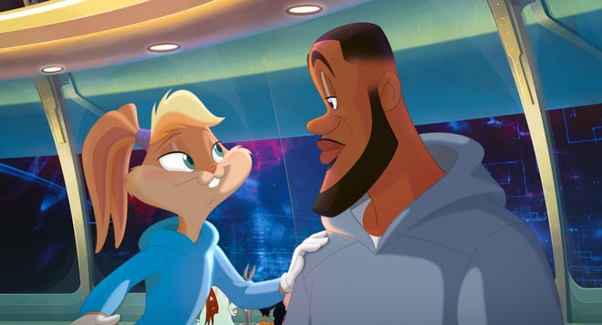 """Lola Bunny (voiced by Zendaya) and LeBron James (as himself) are Tune Squad teammates in """"Space Jam: A New Legacy""""."""
