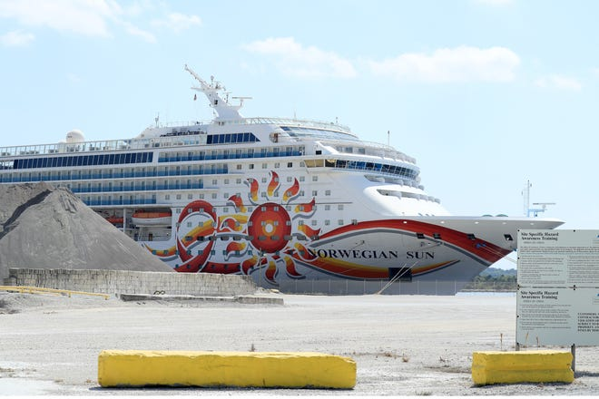 Norwegian Cruise Line's Norwegian Sun sat docked at the Port of Jacksonville on March 27, 2020, amid the coronavirus outbreak, which shut the industry down.