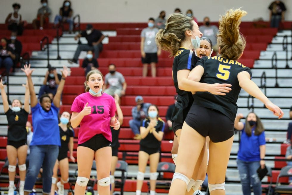 Anderson's volleyball team celebrates a playoff victory over Weiss in November. Anderson had its highest-ever finish in the American-Statesman's annual Breazeale Cup competition, which ranks the success of all area athletic departments based on district championships and playoff achievements.
