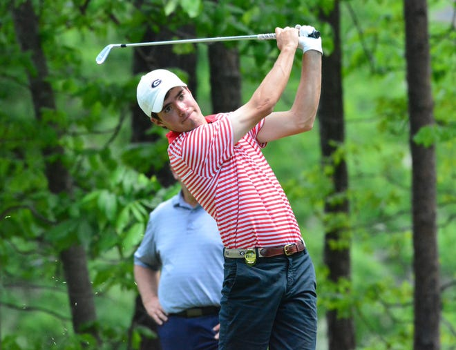 Georgia's Will Kahlstorf during the NCAA Championships at Blessings Golf Club in Fayetteville, Ark., on Friday, May 24, 2019. (Photo by Steven Colquitt)