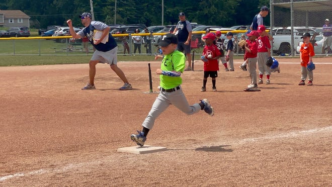 Players participate in the Twinsburg Baseball League's recent skills challenge.