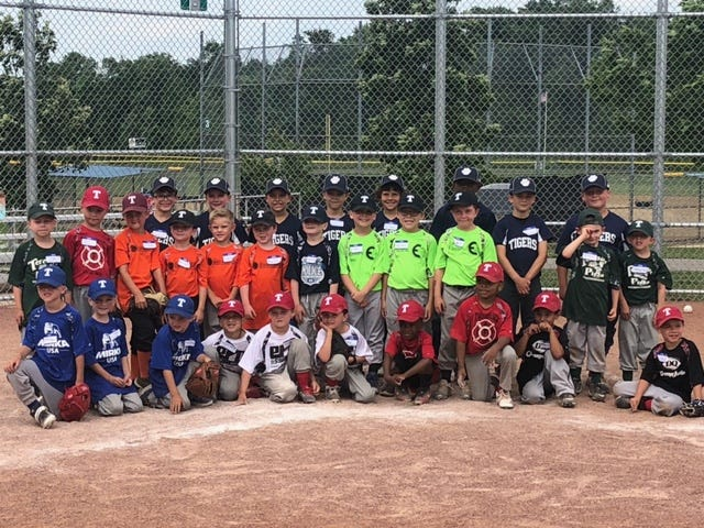 Players pose at home plate following the Twinsburg Baseball League's recent skills challenge and an All-Star Game for its instructional players.