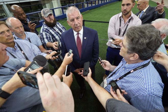 Big 12 commissioner Bob Bowlsby speaks to reporters during NCAA college football Big 12 media days Wednesday, July 14, 2021, in Arlington, Texas.