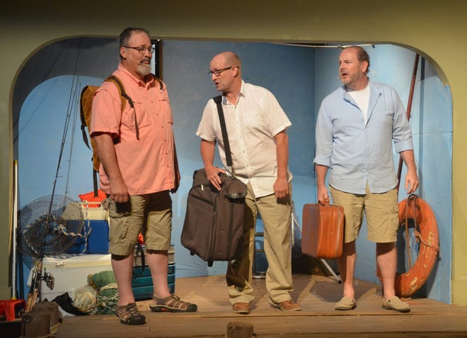 """Three men invited to the wedding of the daughter of a Greek island resort owner arrive for the festivities in the Lyric Theatre's production of """"Mamma Mia."""" The 1999 stage musical, which inspired a motion picture in 2008 and a sequel in 2018, features the music of popular Swedish group ABBA. Pictured from left to right are veteran Lyric performers Jeff Woods, Stephen Haynes, and Jonathan Harvey. The show opens Friday night, July 16."""