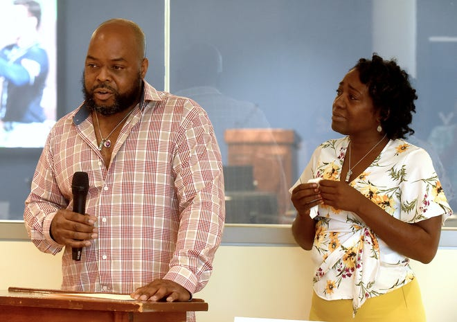 Adrian Wright and Shaunda Hamilton, parents of Nadria Leann Wright, share memories of their daughter on Wednesday at Columbia College, where a memorial nursing scholarship has been established in her name. Their daughter was shot and killed in 2019 in Columbia.