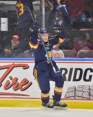 Brandt Clarke of the Barrie Colts celebrates during the 2019-20 OHL season.