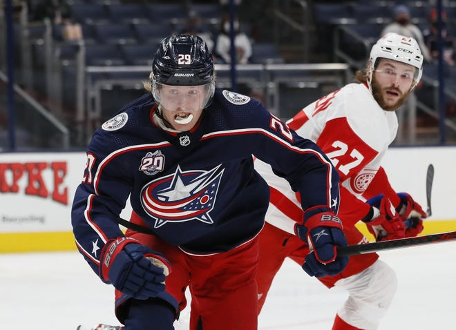 Blue Jackets right wing Patrik Laine had 12 goals and 12 assists in 46 games last season.