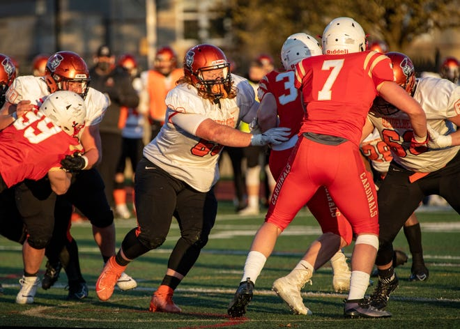 Heidelberg offensive lineman Wally Kalinowski (center) blocks during a game at Otterbein on April 2. The 2019 Canal Winchester graduate has started all 15 games during his first two seasons with the Student Princes. Playing mostly left guard, he was an integral part of Heidelberg being ranked fifth nationally in offense in Division III this spring.