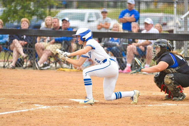 Ella Reimers looks to bunt for the Bulldogs during a game against Ogden on Wednesday, July 7 in Van Meter.