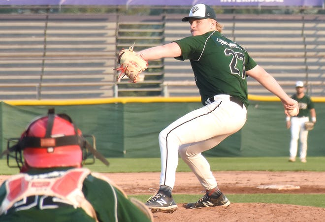 Mohawk Valley's Jack Erbeck winds up to deliver a pitch to Fairfiend University teammate Matt Venuto. Erbeck pitched five scoreless innings Tuesday during the  DiamondDawgs' 15-3 win over the Watertown Rapids.