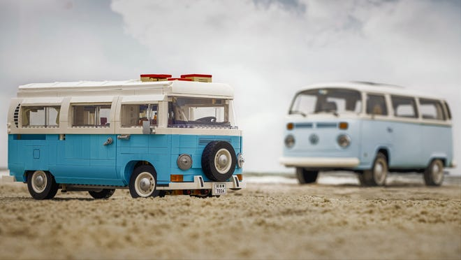 The new LEGO Volkswagen camper (left) with the real thing nearby.
