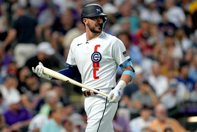 National League's Kris Bryant, of the Chicago Cubs, looks to the mound after striking out during the sixth inning of the MLB All-Star game on Tuesday, July 13, 2021, in Denver.