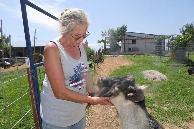Coraleen Bunner speaks to a billy goat on her goat farm in Pfeifer.