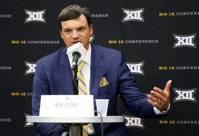 West Virginia coach Neal Brown, pictured Wednesday at Big 12 media days in Arlington, said quarterback Jarret Doege from Lubbock-Cooper had the best spring of any of his offensive players. The former Lubbock-Cooper standout was the conference's second-leading passer last season.