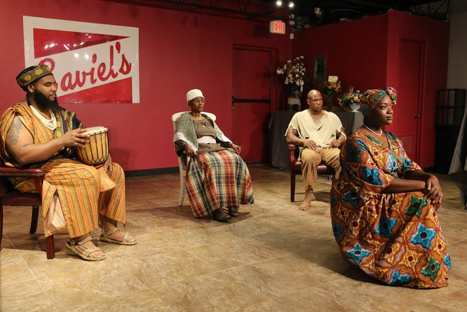 """From left, Robert Childers, Mary Ann Lawson, Charles Planks Jr. and Ayanna Arnold are pictured in a scene from """"Strange Fruit: A History in Blackness,"""" an original production by Lubbock native Stephanie Johnson and produced and directed by The Edge: A Company of Fine Artists."""