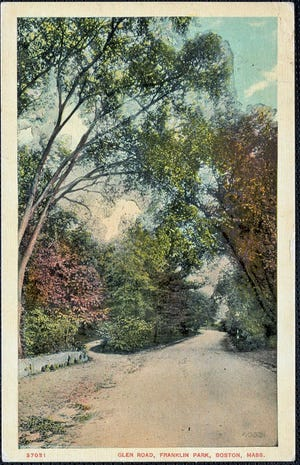 This postcard shows Glen Road as it was in 1912. The road weaves through Franklin Park. Learn more from at www.digitalcommonwealth.org.