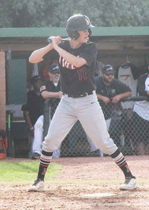 La Junta High School's Nathan Frankmore at the plate against Lamar in June. Frankmore was a first team All-Tri-Peaks League selection.