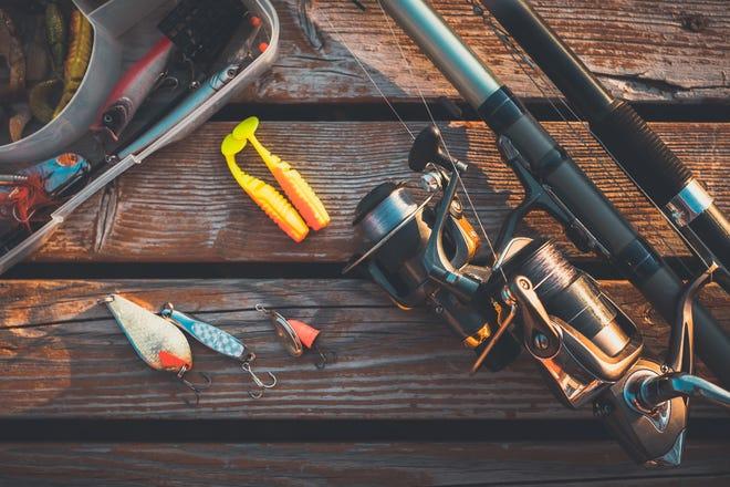 Fishing rod and baits.