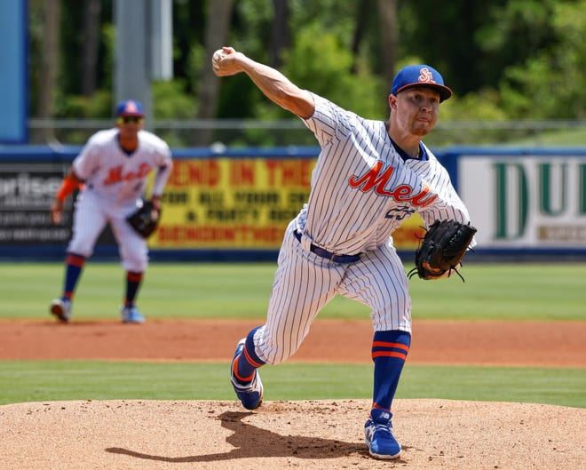 Former Hanover High and Curry College star David Griffin is pitching for the New York Mets' Class A affiliate in Port St. Lucie, Fla.