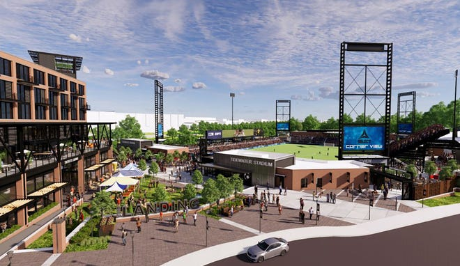 A rendering of Tidewater Stadium, which developers hope to be ready in the spring of 2023.