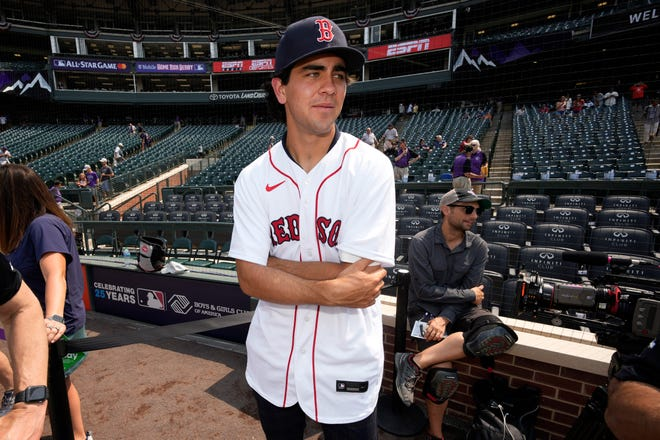 Boston Red Sox first round draft pick Marcelo Mayer watches batting practice for the MLB All-Star baseball game, Monday, July 12, 2021, in Denver. (AP Photo/David Zalubowski) ORG XMIT: MLB123