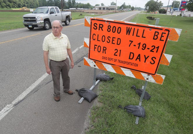 Bruce Beck, owner of Crossroads Restaurant, talks about the upcoming closure of state Route 800 outside his business near the Stark-Tuscarawas line.