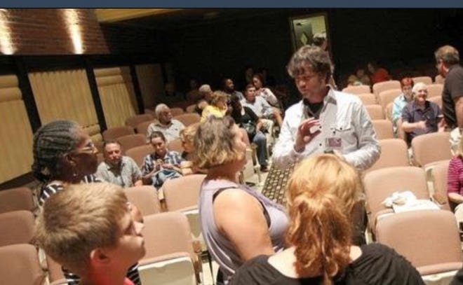 Movie goers talk to a film director at a past Real to Reel Film Festival.