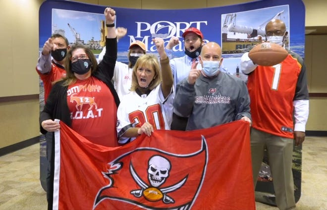 Manatee County commissioners posted a video Feb. 2, 2021, to show their support for the Tampa Bay Bucs, just before Super Bowl LV. Some drew criticism for not wearing masks.