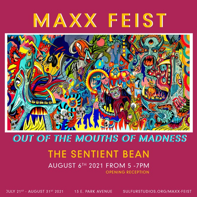 Poster of art show with Maxx Feist art.