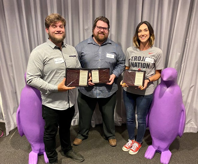Pictured (from left) are Web and Multimedia Coordinator Brooks Nickell, Communications Coordinator Josh Hutton and Director of Community Relations Kristin Dunn.