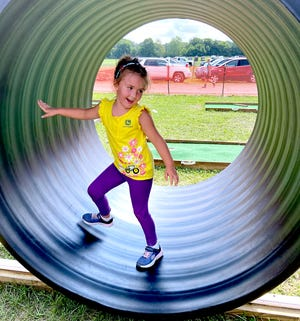 Dolly Walker of DeKalbCounty, Ind.,tried her luck at thehamsterwheelWednesdayat the LaGrange County 4-HFair. She was attending with her mother, Jennifer, who works in the LaGrange area,and sister Leann.