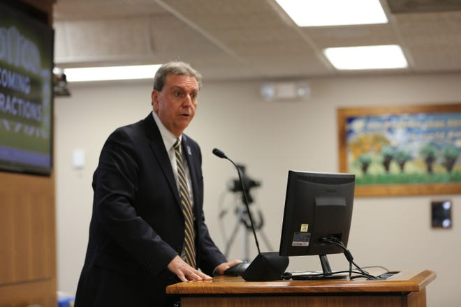 Kansas State Department of Education Commissioner Randy Watson discusses critical race theory at a meeting of the Kansas State Board of Education on Tuesday.