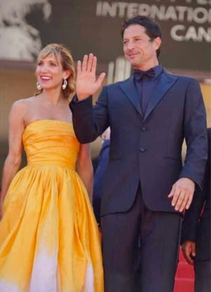 """Topeka native Bree Elrod, left, walked the red carpet with Simon Rex on Wednesday at the Cannes Film Festival in France for the premiere of the film """"Red Rocket."""""""