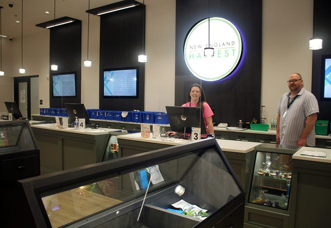 Manning the counter at New England Harvest are Christine Tagg and Daniel Tucker.