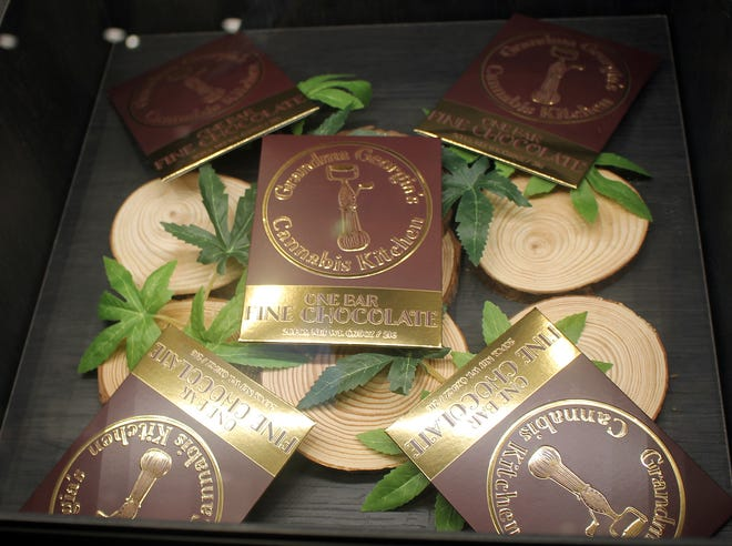 Chocolate bars, produced by Grandma Georgia's Cannabis Kitchen, on display at New England Harvest.