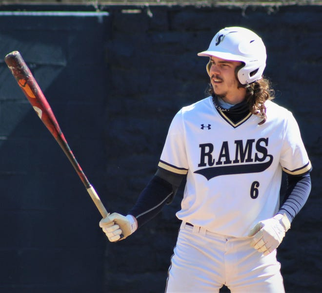 Shepherd University outfielder Jared Carr, a Saint James graduate, prepares to hit against Shippensburg. Carr was selected in the 13th round of the Major League Baseball draft by the Philadelphia Phillies on Tuesday.