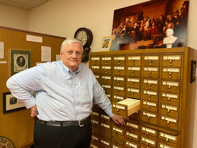 Town archivist Richard Trask inside the Danvers Archival Center at the Peabody Institute Library.