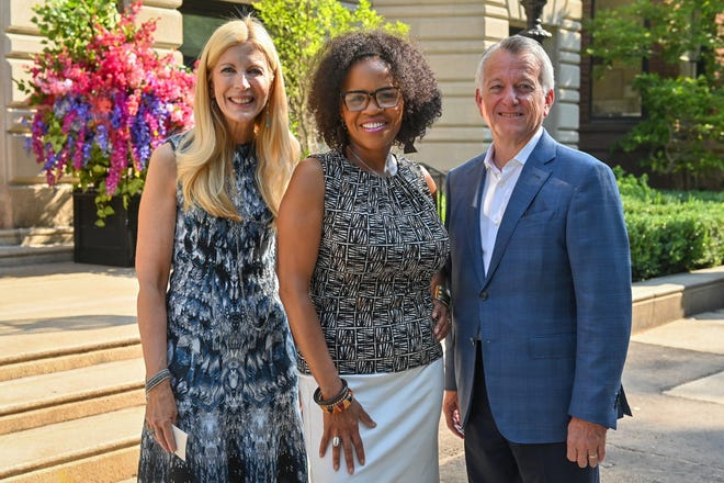 Brookline residents Sandy and Paul Edgerley were joined by acting mayor of Boston Kim Janey to officially open the doors to The 'Quin House along Commonwealth Avenue in the Back Bay. Pictured, from left, are Sandy Edgerley, Kim Janey and Paul Edgerley.
