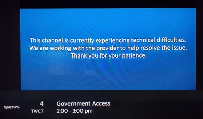 Spectrum viewers in the Appleton and Green Bay areas are seeing a notice that the public access channel is experiencing technical difficulties.