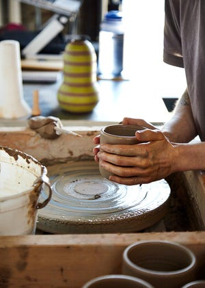 East Fork Pottery produces ceramic dishware in Asheville.