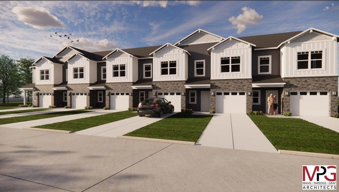 Renderings on file with Buncombe County show the design for Broad River Village, a development hoping to construct 89 townhomes on Morris Road near Bent Creek.