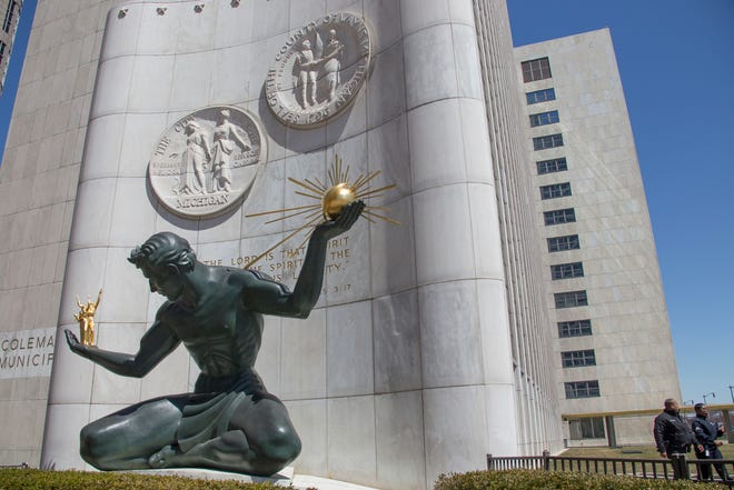 The Spirit of Detroit, a bronze sculpture by Marshall Fredericks, at the Coleman A. Young Municipal Center in Detroit, photographed on Thursday, April 19, 2018.