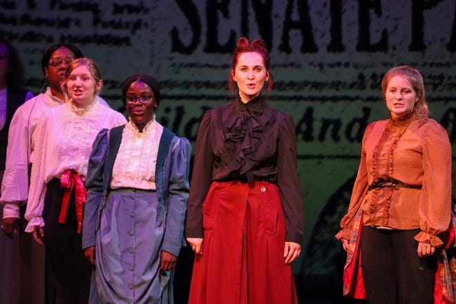 """Members of the cast of """"The Suffragist"""" perform an ensemble number during a dress rehearsal for the play Tuesday in Cedar Falls."""
