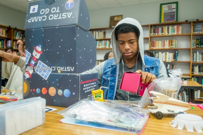 NASA Astro Camp gives students chance to explore the mysteries of space as astronauts take spacewalks in virtual reality, build working robots, plan a lunar colony, launch rockets, explore the surface of Mars, make out-of-this-world astronaut ice cream, and collaborate as a crew to complete challenging space missions. Wednesday, July 14, 2021.