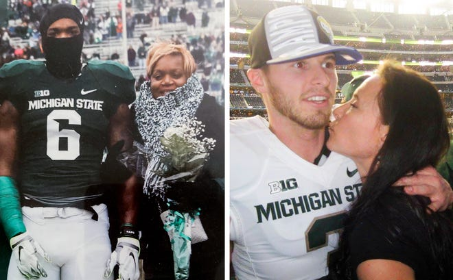 At left, Mylan Hicks and his mother Renee Hill. At right, Mike Sadler and his mother Karen.